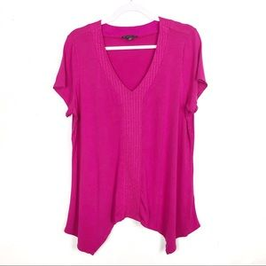 Adrianna Papell Pink V Neck Asymmetrical Top